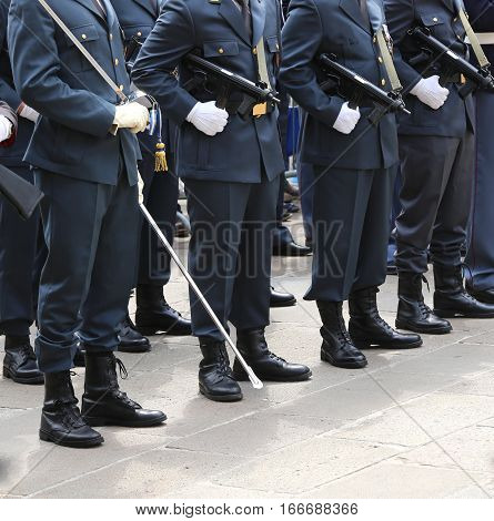 Italian Financial Police Officers Called Guardia Di Finanza With