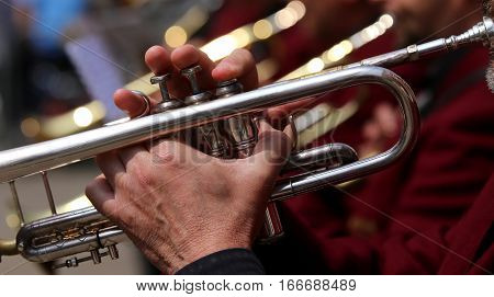 Trumpet Player During An Outdoor Concert Of A Brass Band