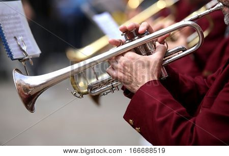 Trumpeter Plays His Trumpet In The Brass Band During Live Concer