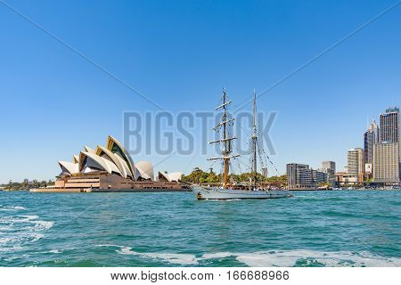 SYDNEY AUSTRALIA - OCTOBER 16 2016: The James Craig is a three masted iron-hulled ship built in England in 1874. Now restored and sailed by the Sydney Maritime Museum.