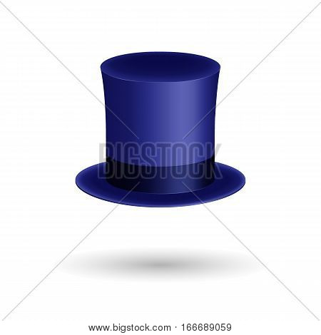 Blue gentleman hat cylinder with silk ribbon. Elegance and luxury symbol. Volumetric icon isolated on white background. Vector Illustration. EPS10 format.