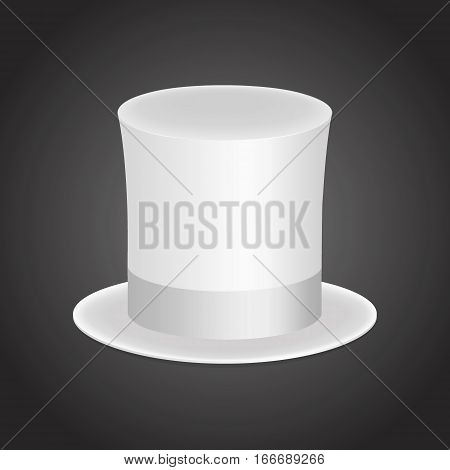 White gentleman hat cylinder with silk ribbon. Elegance and luxury symbol. Volumetric icon isolated on a dark background. Vector Illustration. EPS10 format.