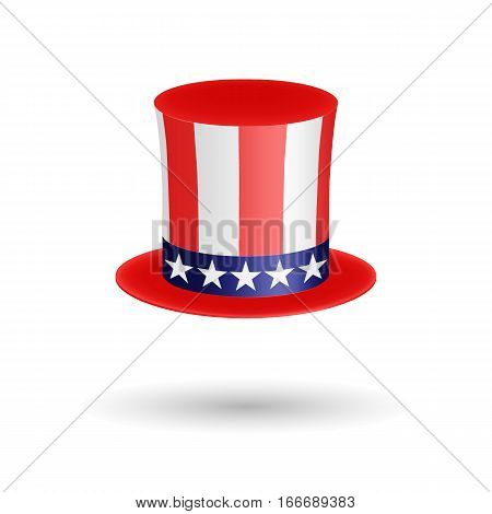 American gentleman hat cylinder with ribbon. Symbol of Independence Day and President s Day. Volumetric icon isolated on white background. Vector Illustration. EPS10 format. Usable for design greeting card, banner, invitation, poster.