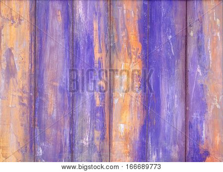 Violet old peeling paint wooden background texture