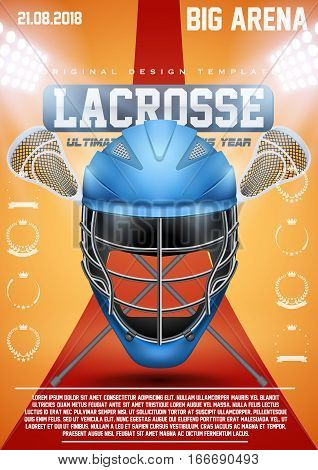 Poster Template of Lacrosse Sports with Blue Helmet and sticks. Cup and Tournament Advertising. Sport Event Announcement. Vector Illustration.