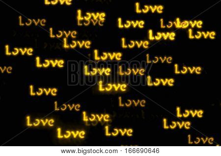 St Valentines Day background with golden word Love bokeh - St Valentines day light inscription. St Valentines day concept
