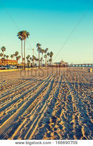 Newport Beach at sunset in California, USA