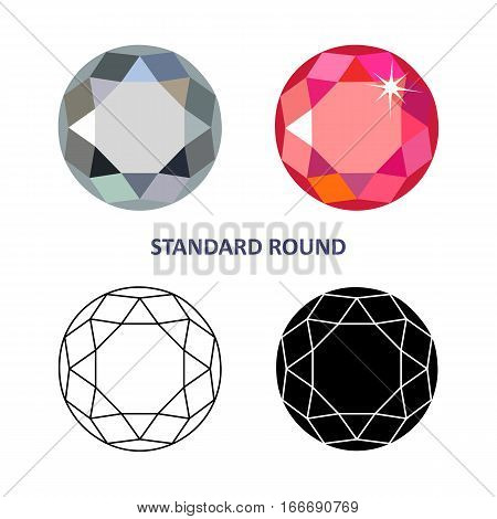 Low poly colored & black outline template standard round gem cut icons isolated on white background vector illustration