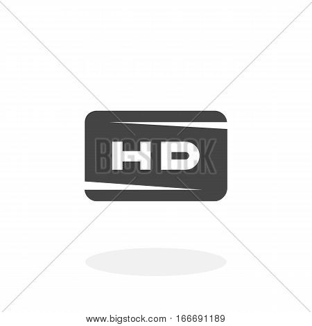 HD icon isolated on white background. HD vector logo. Flat design style. Modern vector pictogram for web graphics - stock vector