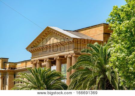 SYDNEY AUSTRALIA - OCTOBER 16 2016: Portico and façade of the Public Library of New South Wales in Sydney Australia.