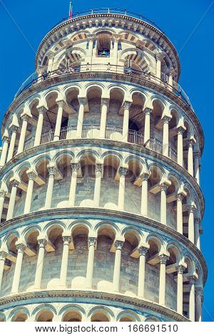 World famous leaning tower in Pisa Italy