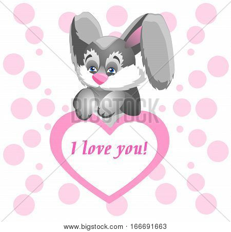 Funny bunny holding a huge pink heart with a declaration of love.