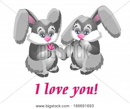 Two enamored rabbit. Boy gives a girl a flower. Cute and funny card Valentine's Day.