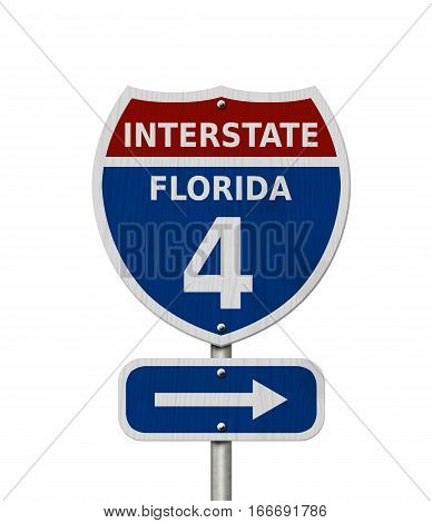 USA Interstate 4 highway sign Red white and blue interstate highway road sign with number 4 isolated over white 3D Illustration