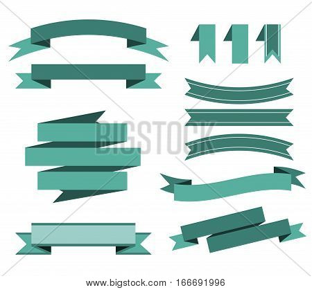 vector set of the blue ribbons for banner, poster, card sale, web site. Collection of the Isolated signs on the white background