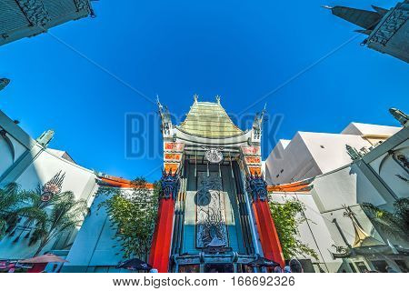 LOS ANGELES CALIFORNIA - NOVEMBER 02 2016: Grauman's Chinese Theater on Hollywood Boulevard