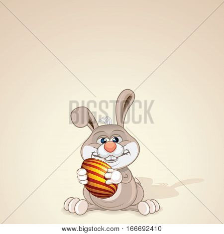 Funny Easter Bunny with Painted Egg. Ready for Your Text and Design.