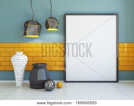 Interior mockup illustration 3d render blue wall with blank board