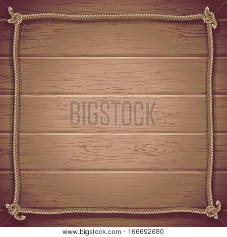 Grunge Marine Style Vector Background. Wooden Boards with Ship Rope.