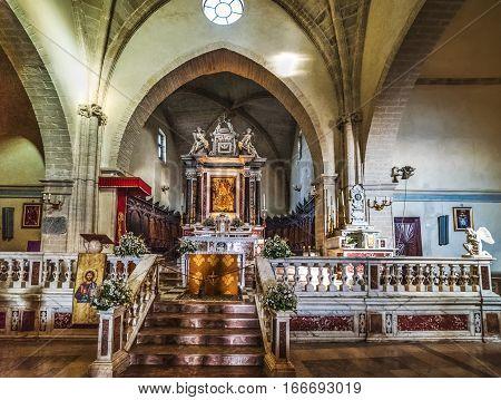Castelsardo, Italy - August 31 2016: Interior view of Sant'Antonio abate