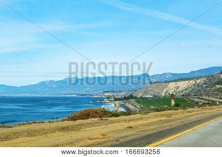 shoreline along Pacific Coast Highway in California