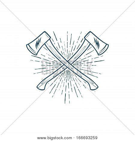 Crossed Axes with sunburst vector t-shirt print illustration