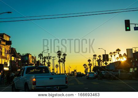 a scenic sunset in Venice beach California