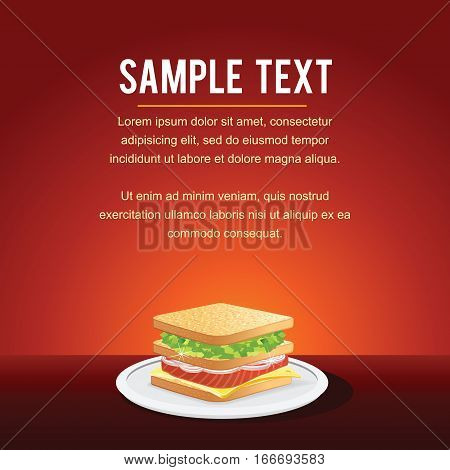 Fast Food Restaurant Menu Card Design. Template, Mock up with Sandwich for Your Text.