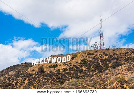 Los Angeles, California - October 28 2016: Hollywood sign under a blue sky with clouds
