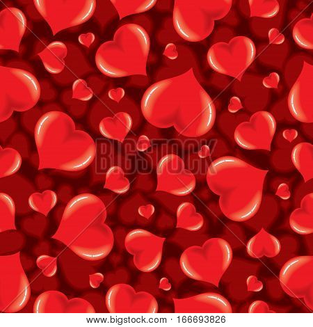 Vector Seamless Pattern with Shiny Hearts. Valentines Day Design Background Template