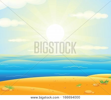 Sunrise over the Tropical Beach Resort Vector Poster Backdrop