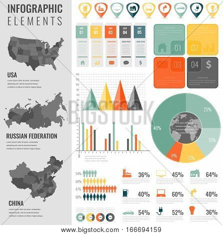 Infographic Elements Set with maps of the countries USA, China, Russian Federation. Business infographic with markers, charts and other elements. Vector.