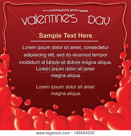 Valentines Day Red Card. Abstract Background Template