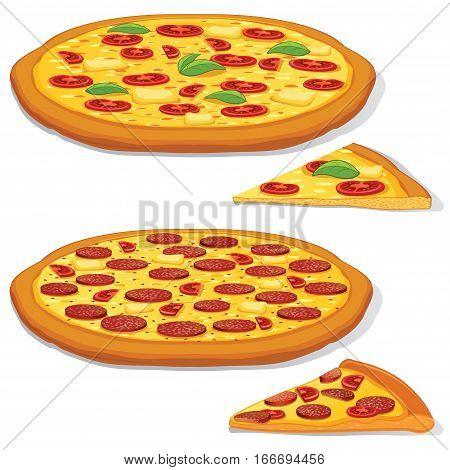 Classic Original Italian Pepperoni and Margarita Pizza. Vector Design Set