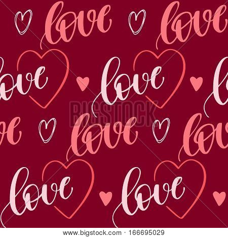 Romantic seamless pattern with handwritten lettering and hearts for your design on red background.