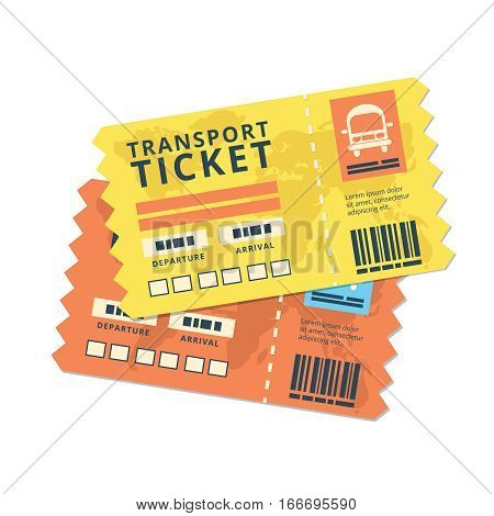 ticket travel bus icon. World traveller tickets collection. Pattern of boarding pass ticket with code. Concept of travel, journey or business. Isolated on white. Vector illustration