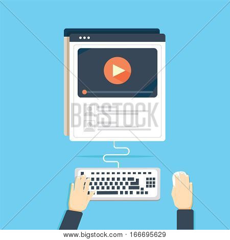Video tutorial streaming isolated on blue background.Elearning and video blogging concept illustration of female hands using browser, keyboard searching video tutorial or vlog for distance learning