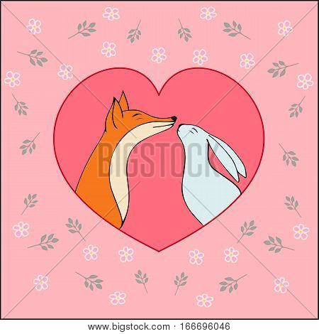 Vector hearts. Love-Happy Valentines day card with cute fox and rabbit-stock vector.