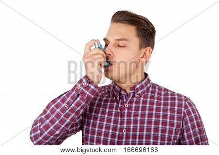 Picture of a young man having an asthma attack