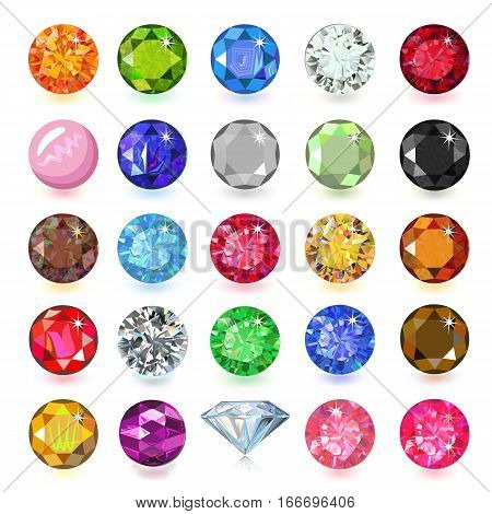 Colored gems set naming vector illustration isolated on white background