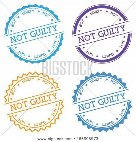 Not Guilty Badge Isolated On White Background. Flat Style Round Label With Text. Circular Emblem Vec