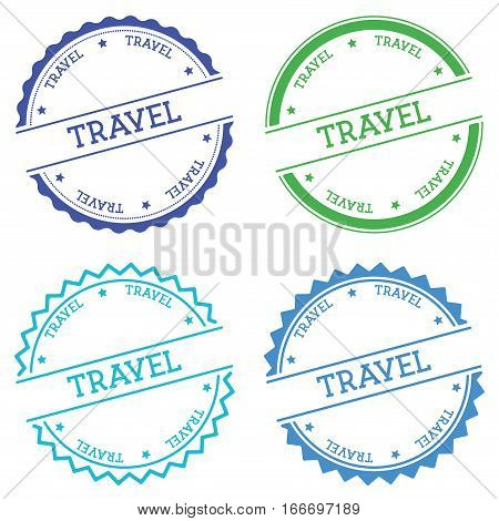 Travel Badge Isolated On White Background. Flat Style Round Label With Text. Circular Emblem Vector