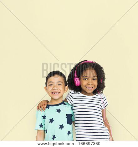 Little Boy Girl Hug Smile Listen Music Studio