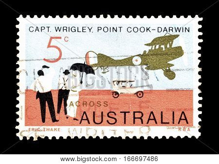 AUSTRALIA - CIRCA 1969 : Cancelled postage stamp printed by Australia, that shows Old airplane and car.