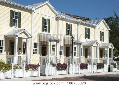 Sunny townhouses in Key West the southernmost town in The United States (Florida).