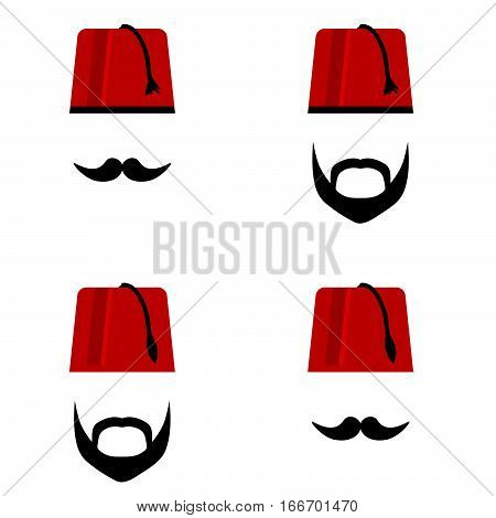 Man Head With Fez Set Color Illustration