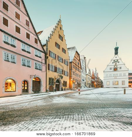 Amazing winter on Market square of Rothenburg ob der Tauber, Middle Franconia, Bavaria, Germany