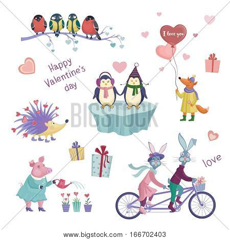 Set of vector animals cute Valentine's Day. Penguins hares on the bike fox with balloons. The characters for your design