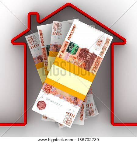 Money for the purchase of real estate. Stack of packs of 5000 Russian rubles banknotes tied with a ribbon and red home contour. Isolated. 3D Illustration