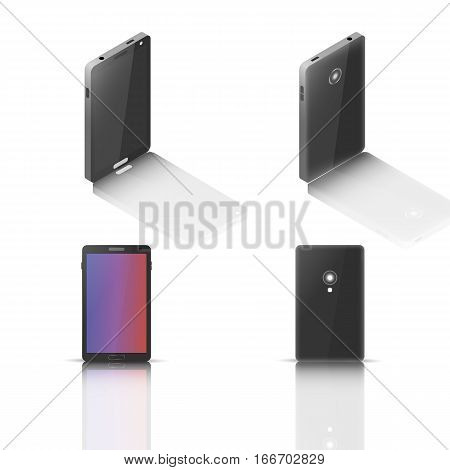 Photorealistic mobile phone with a mirror reflection isolated on white background. Front and back side. Element for design of digital devices vector illustration.